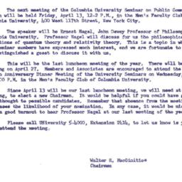 Announcements, 1962-04-13. ...