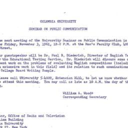 Announcements, 1961-11-03. ...