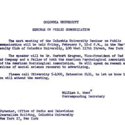 Announcements, 1962-02-09. ...
