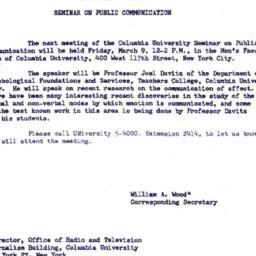 Announcements, 1962-03-09. ...