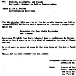 Announcements, 1962-10-26. ...