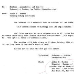 Announcements, 1963-10-04. ...