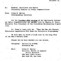 Announcements, 1963-12-13. ...