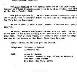 Announcements, 1966-05-02. ...