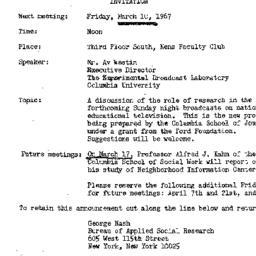 Announcements, 1967-03-10. ...