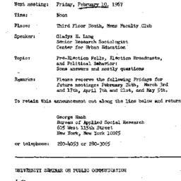 Announcements, 1967-02-10. ...