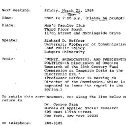 Announcements, 1969-03-21. ...
