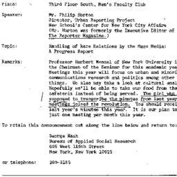Announcements, 1968-10-25. ...