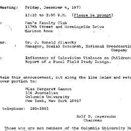 Announcements, 1970-12-04. ...