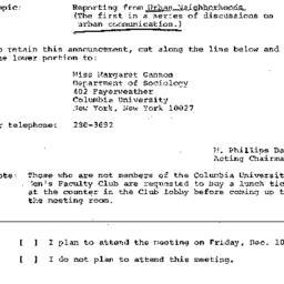 Announcements, 1971-12-10. ...