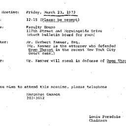 Announcements, 1973-03-23. ...