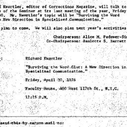 Announcements, 1976-04-30. ...