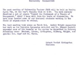 Announcements, 1958-04-07. ...