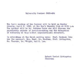 Announcements, 1959-04-06. ...