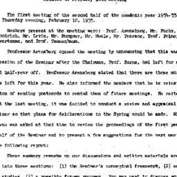 Minutes, 1955-02-10. Social...