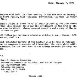 Announcements, 1970-01-07. ...
