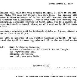 Announcements, 1970-03-05. ...