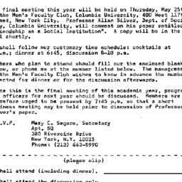 Announcements, 1972-05-10. ...
