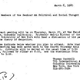 Announcements, 1980-03-06. ...