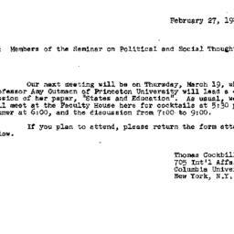 Announcements, 1981-02-27. ...