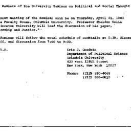 Announcements, 1983-04-08. ...
