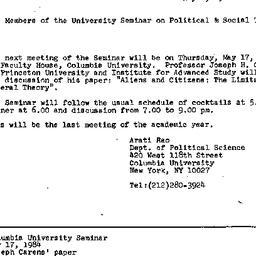 Announcements, 1984-05-01. ...