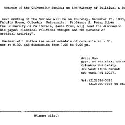 Announcements, 1983-12-01. ...