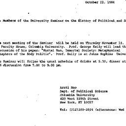 Announcements, 1984-10-22. ...