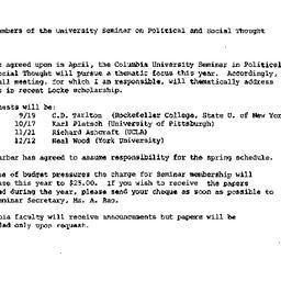 Announcements, 1986-08-23. ...