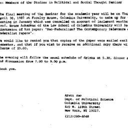 Announcements, 1987-04-16. ...