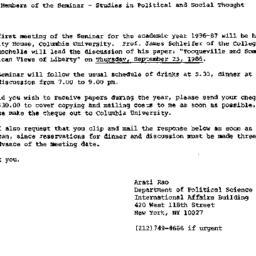 Announcements, 1986-09-25. ...