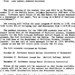 Announcements, 1989-08-22. ...