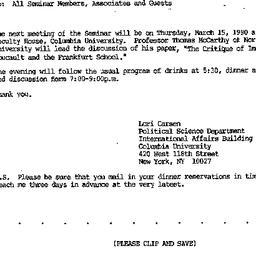 Announcements, 1990-02-05. ...