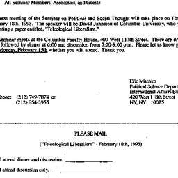 Announcements, 1993-01-25. ...