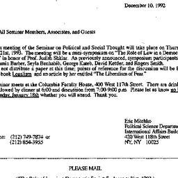 Announcements, 1992-12-10. ...