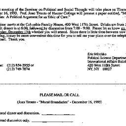 Announcements, 1993-12-03. ...