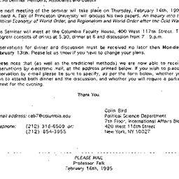 Announcements, 1995-01-19. ...