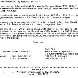 Announcements, 1994-12-15. ...