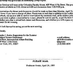 Announcements, 1997-04-07. ...