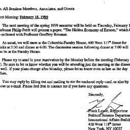 Announcements, 1999-01-28. ...