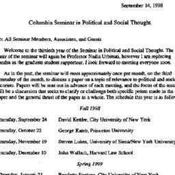 Announcements, 1998-09-14. ...