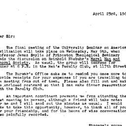 Announcements, 1962-05-09. ...