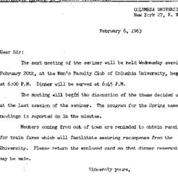 Announcements, 1963-02-06. ...