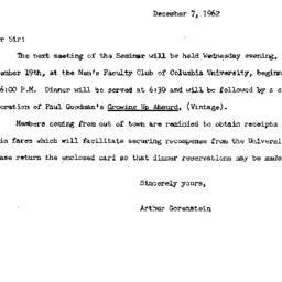 Announcements, 1962-12-07. ...