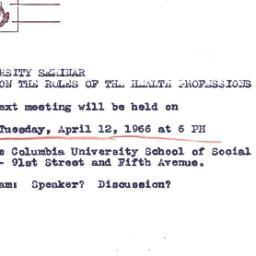 Announcements, 1966-03-30. ...