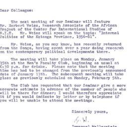 Announcements, 1962-01-03. ...