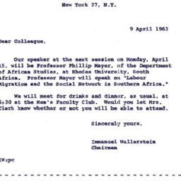 Announcements, 1963-04-09. ...