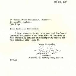 Correspondence, 1967-05-23....