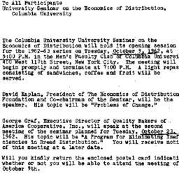 Announcements, 1962-10-01. ...