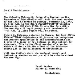 Announcements, 1962-11-05. ...